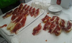Tapas jamón y mermelada. Hero Tour Madrid 2015